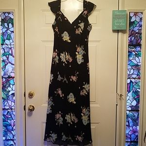 Evan Picone Dress 16 Black Floral sleeveless